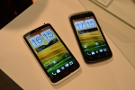 The impressive HTC One X (left) and the HTC One S with Super LCD and AMOLED displays respectively.